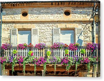 French Flowers On A Balcony Canvas Print by Georgia Fowler