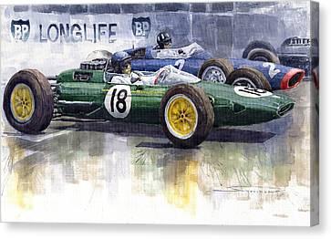 French Gp 1963 Start Lotus Vs Brm Canvas Print by Yuriy  Shevchuk