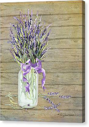 French Lavender Rustic Country Mason Jar Bouquet On Wooden Fence Canvas Print by Audrey Jeanne Roberts