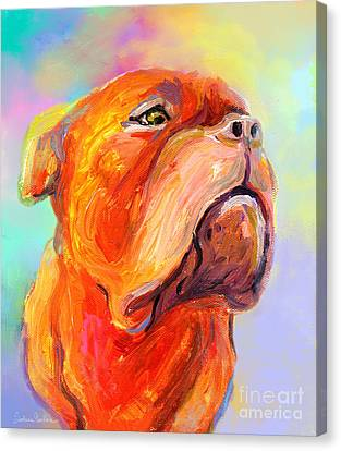 French Mastiff Bordeaux Dog Painting Print Canvas Print by Svetlana Novikova