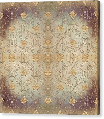 French Parisian Damask Swirl Vintage Style Wallpaper Canvas Print by Audrey Jeanne Roberts