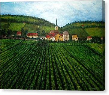 French Village In The Vineyards Canvas Print by Nancy Mueller