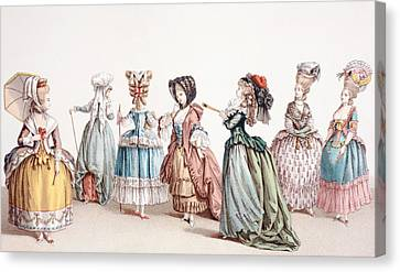 French Women S Fashions During The Canvas Print by Vintage Design Pics