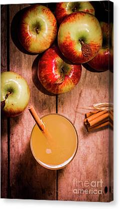 Fresh Apple Cider With Cinnamon Sticks And Apples Canvas Print by Jorgo Photography - Wall Art Gallery