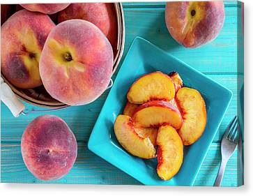 Fresh Organic Yellow Peaches And Peach Salsa Canvas Print by Teri Virbickis