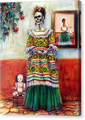 Frida And Her Doll Canvas Print by Heather Calderon