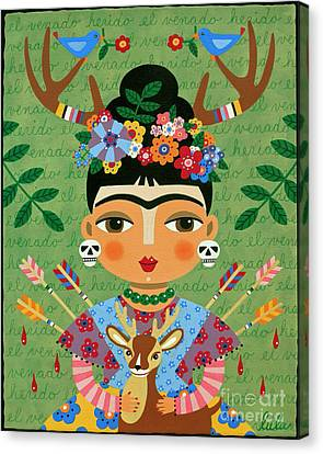 Frida Kahlo With Antlers And Deer Canvas Print by LuLu Mypinkturtle