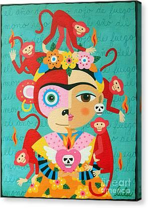 Frida Kahlo Year Of The Monkey Canvas Print by LuLu Mypinkturtle