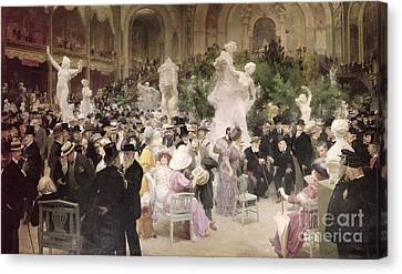 Friday At The Salon Canvas Print by Jules Alexandre Grun