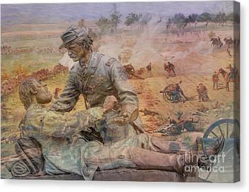 Friend To Friend Monument Gettysburg Battlefield Canvas Print by Randy Steele