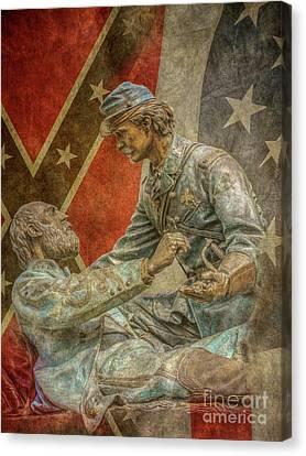 Friend To Friend Monument Gettysburg Flags Canvas Print by Randy Steele