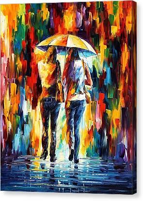Friends Under The Rain Canvas Print by Leonid Afremov