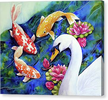 Friends With Swan Canvas Print by Susy Soulies