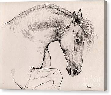 Friesian Horse Drawing 2015 12 10 Canvas Print by Angel Tarantella