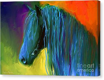 Friesian Horse Painting 2 Canvas Print by Svetlana Novikova