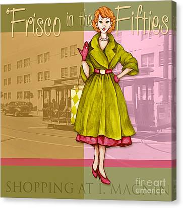 Frisco In The Fifties Shopping At I Magnin Canvas Print by Cindy Garber Iverson