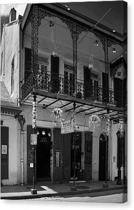 Fritzel's European Jazz Pub In Black And White Canvas Print by Chrystal Mimbs