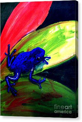 Frog On Leaf Canvas Print by Mike Grubb