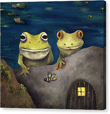 Frogland Detail Canvas Print by Leah Saulnier The Painting Maniac