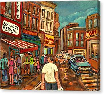 From Schwartz's To Warshaws To The  Main Steakhouse Montreal's Famous Landmarks By Carole Spandau  Canvas Print by Carole Spandau
