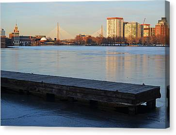 Frozen Dock On The Charles River Canvas Print by Toby McGuire