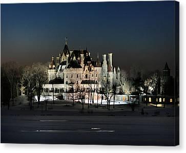Frozen Boldt Castle Canvas Print by Lori Deiter