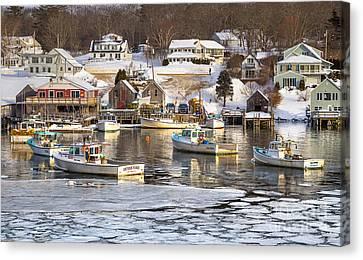 Frozen New Harbor Canvas Print by Benjamin Williamson