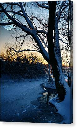 Frozen River Canvas Print by  Jaroslaw Grudzinski