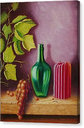 Fruit And Candle Canvas Print by Gene Gregory