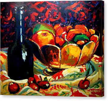 Fruit Bowl And Bottle Canvas Print by Brian Simons