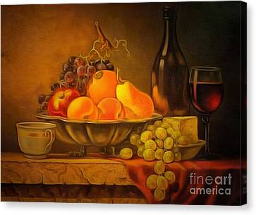 Fruit Table Buffet In Ambiance Canvas Print by Catherine Lott