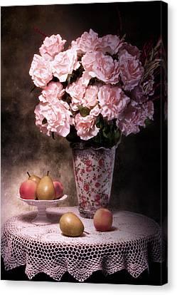 Fruit With Flowers Still Life Canvas Print by Tom Mc Nemar