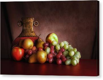 Fruit With Vase Canvas Print by Tom Mc Nemar
