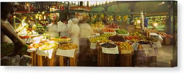Fruits And Vegetables Stall In A Canvas Print by Panoramic Images