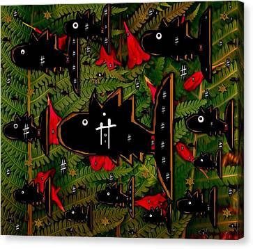 Fugi Sashi In The Deep Sea Of Japan Canvas Print by Pepita Selles