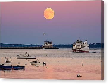 Full Hunter Moon Over Rockland Breakwater Canvas Print by Tim Sullivan