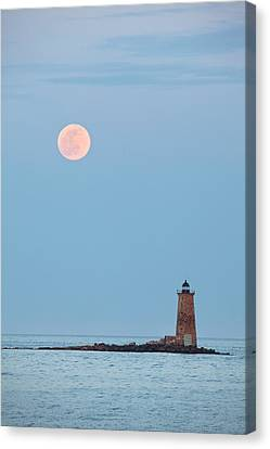 Full Moon And Whaleback Canvas Print by Eric Gendron