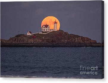 Full Moon Behind Nubble Canvas Print by Benjamin Williamson