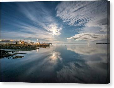 Full Moon Over Rockland Harbor Canvas Print by Tim Sullivan