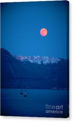 Full Moon Over Santorini Canvas Print by Brian Jannsen