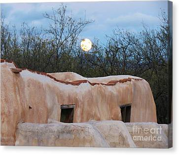 Full Moon Over Tumacacori Canvas Print by Feva Fotos