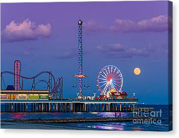 Full Moon Rising And Historic Pleasure Pier In Galveston Island - Texas Gulf Coast Canvas Print by Silvio Ligutti