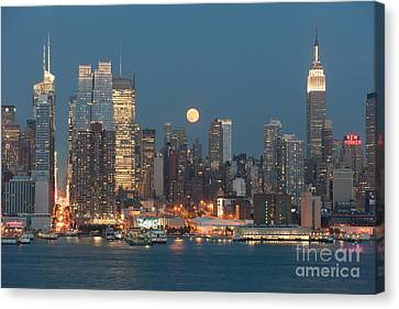 Full Moon Rising Over New York City I Canvas Print by Clarence Holmes