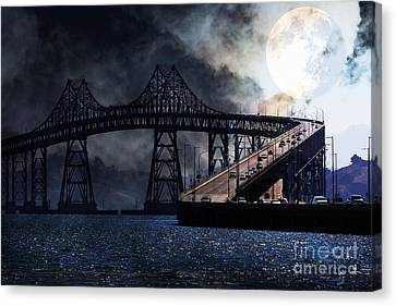 Full Moon Surreal Night At The Bay Area Richmond-san Rafael Bridge - 5d18440 Canvas Print by Wingsdomain Art and Photography