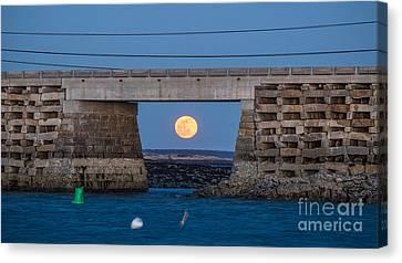 Full Moon Under The Cribstone Bridge Canvas Print by Benjamin Williamson