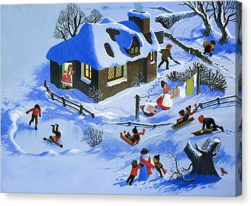 Fun In The Snow Canvas Print by English School