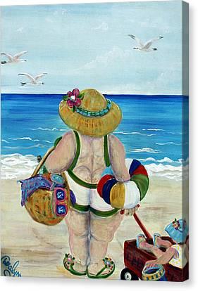 Fun With Nanny Canvas Print by Doralynn Lowe