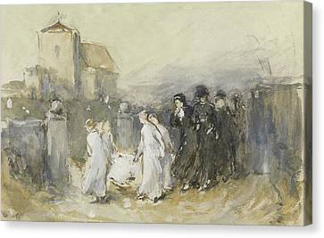 Funeral Of The First Born Canvas Print by Frank Holl