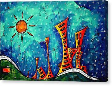 Funky Town Original Madart Painting Canvas Print by Megan Duncanson