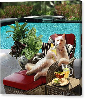 Funny Pet  Vacationing Kitty Canvas Print by Regina Femrite